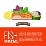 Grilla przyjęcie ryby z grilla warzywa również zwrócić corel ilustracji wektora Obrazy Stock