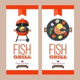 Grilla przyjęcie ryby z grilla warzywa również zwrócić corel ilustracji wektora Zdjęcie Stock