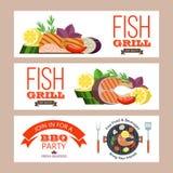 Grilla przyjęcie ryby z grilla warzywa również zwrócić corel ilustracji wektora Obrazy Royalty Free