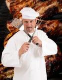 Grilla szef kuchni obraz royalty free