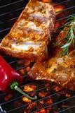 grilla wieprzowiny surowi ziobro Zdjęcie Royalty Free