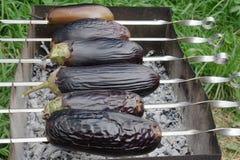 grillad aubergine Arkivbild