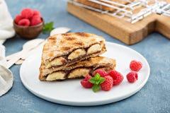 Grillad banan- och chokladsmörgås Royaltyfria Foton