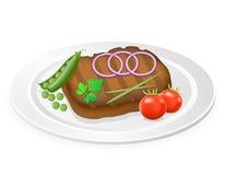 Grillad biff med grönsaker på en plattavektorillustration Royaltyfri Foto