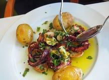 Grillad bläckfisk i Portugal Fotografering för Bildbyråer
