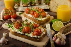 Grillad Cherry Tomato Sauce och Ricotta på rostat bröd arkivfoto