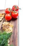 Grillad filé och tomater för fega bröst Arkivbilder