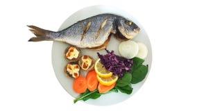 Grillad fisk med champinjonen Royaltyfri Fotografi