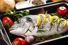 Grillad fisk med grillade potatisar och grönsaker arkivfoton