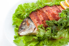 Grillad fisk och bacon med grönsallat och citronen. på  Arkivbild