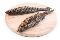 Grillad fisk på uppläggningsfatet Arkivbilder