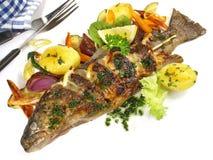 Grillad fisk - regnb?geforell royaltyfri foto