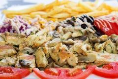 Grillad-Fleisch mit Pilzen Stockfotos