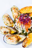 Grillad grön mussla med ost Fotografering för Bildbyråer