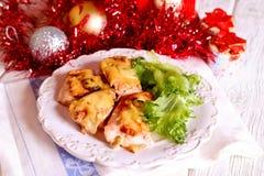 Grillad höna för jullunch Arkivbild