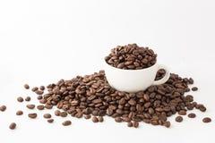 Grillad kaffebönor och kopp på vit bakgrund Arkivbild