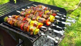 Grillad kebab på metallsteknålen Kock Cooking stock video