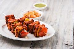 Grillad keso eller också bekant som Paneer Tikka kebab- eller chilipaneer- eller chilipaneer eller tandooripaneer i Indien Indien Royaltyfria Foton