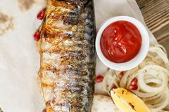 grillad mackerel Tjäna som på ett träbräde på en lantlig tabell Meny för grillfestrestaurang, en serie av foto av olikt Arkivbilder