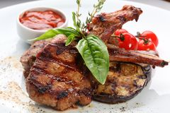 grillad meat Royaltyfri Fotografi