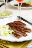 grillad meat skivade Royaltyfri Foto