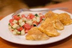Grillad ost med en sallad av tomater och gurkor Royaltyfria Bilder