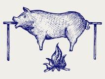 Grillad pig stock illustrationer