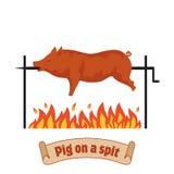 grillad pig pigen spottar Stekhet spädgris Bbq-griskött Arkivfoto