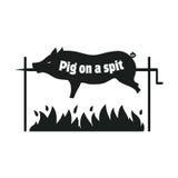 grillad pig pigen spottar Stekhet spädgris Bbq-griskött symbol Arkivbild
