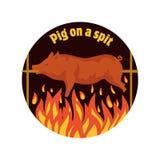 grillad pig pigen spottar Stekhet spädgris Bbq-griskött symbol Arkivfoto