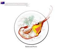 Grillad räka, en stor traditionell australisk maträtt vektor illustrationer