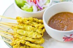 Grillad satay thai mat för griskött Arkivfoto