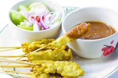 Grillad satay thai mat för griskött Arkivfoton