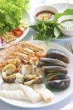 grillad skaldjur Arkivbild