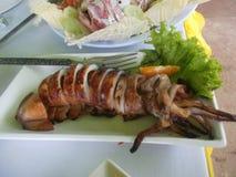 Grillad tioarmad bläckfisk Royaltyfri Fotografi
