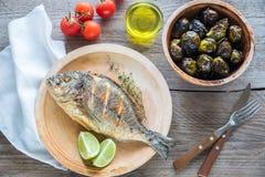 Grillade Dorade Royale Fish med nya och bakade grönsaker Arkivbilder