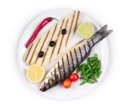 grillade fiskar Arkivfoto