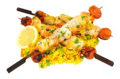 Grillade fiskkebaber med ris Royaltyfri Fotografi