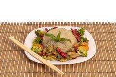 Grillade grönsaker med ris Royaltyfria Bilder