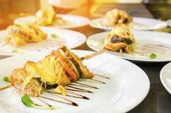 Grillade grönsaksteknålar med ost Fotografering för Bildbyråer