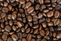 Grillade kaffebönor i bakgrund för bästa sikt royaltyfria bilder