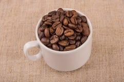 Grillade kaffebönor i coffeecup på säckväv Arkivfoton