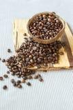 grillade kaffebönor i kokosnöt beskjuter på lantlig träbakgrund, stillebenfotografi med grillade kaffebönor Royaltyfria Bilder