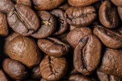Grillade kaffebönor, kan användas som en bakgrund Arkivbilder