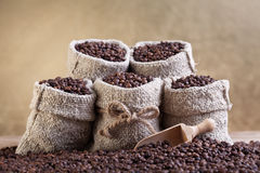 Grillade kaffebönor i små säckvävpåsar Arkivbild