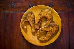 Grillade karpfiskskivor Fotografering för Bildbyråer