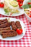 Grillade kebaber - kebabgaller Arkivbild