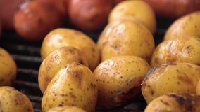 Grillade korvar, bakade potatisar på galler Korvar och potatisar grillade BBQ arkivfilmer