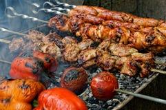 Grillade korvar, kött och grönsaker royaltyfri fotografi
