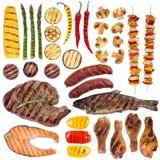 Grillade kött, fisk och grönsaker Royaltyfria Bilder